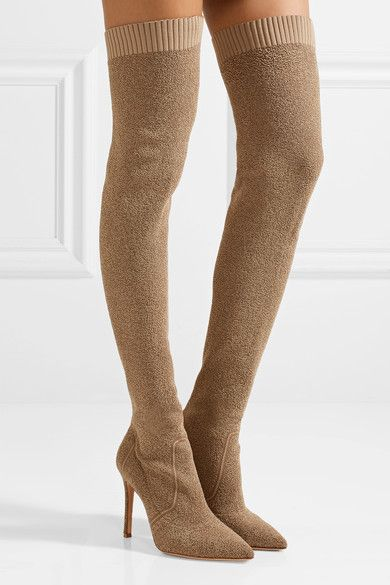 Gianvito Rossi | Fiona bouclé-knit over-the-knee sock boots | NET-A-PORTER.COM
