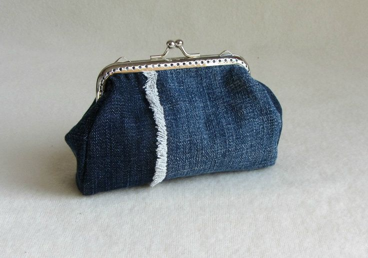 Upcycled coin purse, jean change purse, recycled clutch, handmade in France, eco friendly by JRsbags on Etsy
