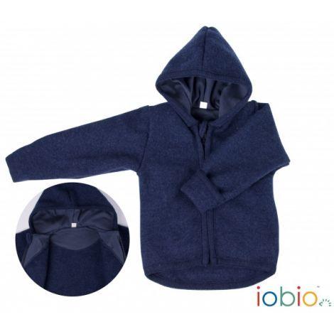 Jasje met kap in vervilte wol - Donkerblauw - SeBio