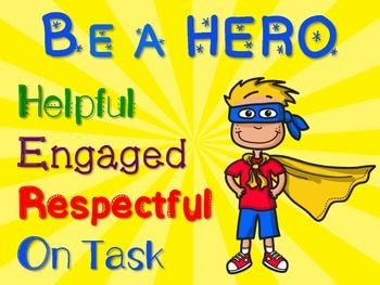 FREE - Be a HERO superhero poster for classroom bulletin board or door. Superhero classroom decor poster for elementary teachers / students.
