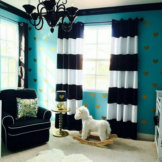 Striped Curtains Panel Lined Curtain Blackout Black And White Stiped Navy