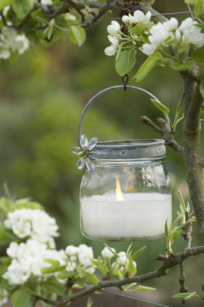 : Candles Lights, Hanging Candles, Outdoor Candles, Gardens Design Ideas, Candles Holders, Gardens Candles, Mason Jars Candles, Lanterns, Blossoms