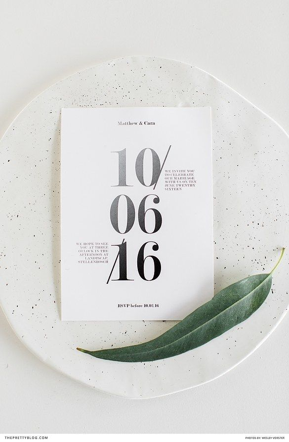 Modern black and white wedding stationery | Stationery by Naomi Mulder Design  | Photograph by Wesley Vorster Photography |