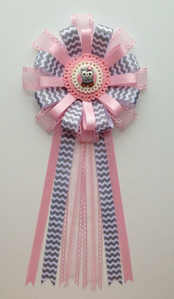 Baby Owl Corsage....Pink and Gray Owl Theme - Baby Girl Baby Shower Corsage... on Etsy, $18.00
