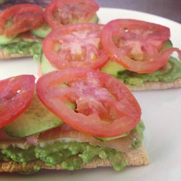 cheese, avocado, salmon, cucumber & tomato on cruskits!
