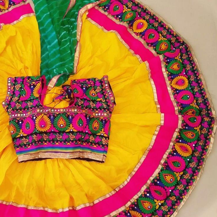 Beautiful Designer Handmade Cotton Lehenga Choli - Yellow (K)