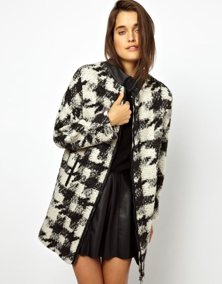 Business Casual busichic with a work wardrobe full of black? Break it up with the ASOS Check Wool Coat.