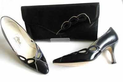 Renata designer shoes matching clutch bag.navy patent.size 5.5