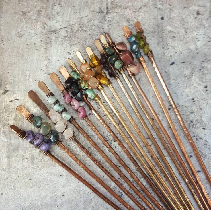 2 Crystal Hair Sticks Metall, Freundin Geschenk, Boho Haarschmuck, Geburtstagsgeschenk für Frauen ihr Kupfer Brötchen Halter Haar Pick, Mutter Geschenk