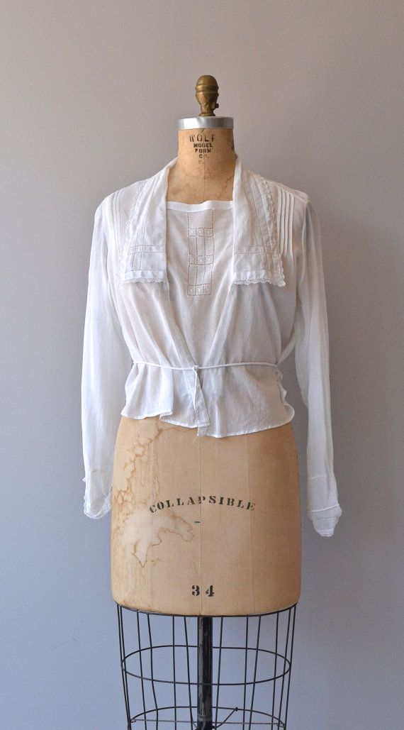 Edwardian blouse vintage blouse white cotton by DearGolden (Top For Teens  White Lace)