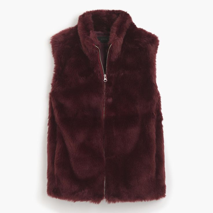 Cool fall days call for a cute faux-fur vest. Body length: 24 1/2. Hits at hip. Acrylic/poly. Dry clean. Import.