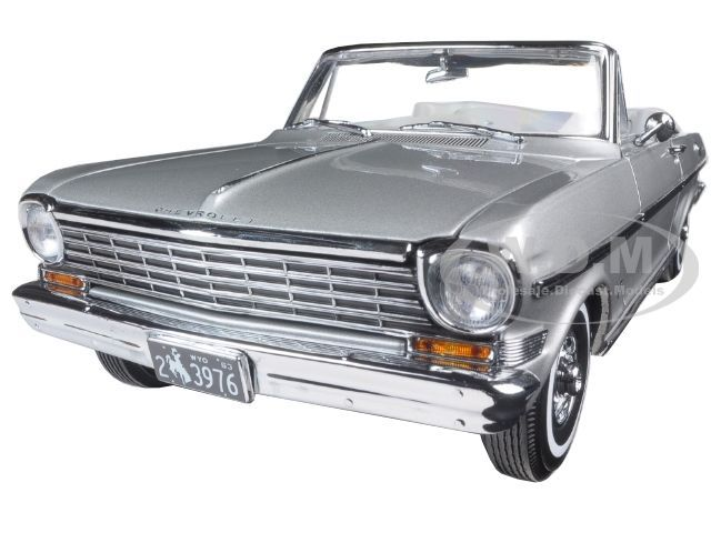 1963 CHEVROLET NOVA OPEN CONVERTIBLE SATIN SILVER 1/18 CAR BY SUNSTAR 3976 #SunStar #Chevrolet