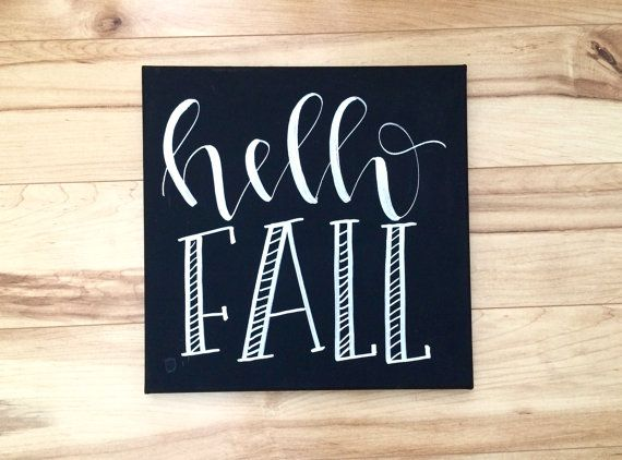 Hello fall 12x12 canvas sign fall decor fall wall art by ADEprints