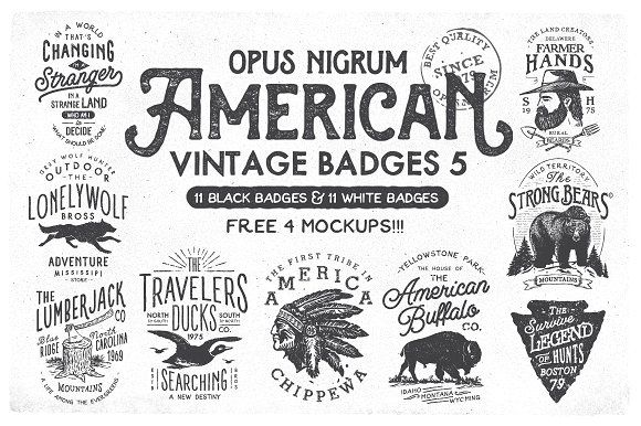 @newkoko2020 American Vintage Badges 5 by OpusNigrum on @creativemarket #bundle #set #discout #quality #bulk #buy #design #trend #vintage #vintagegraphic #graphic #illustration #template #art #retro #icon