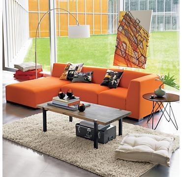 paper clip side table: Decor, Orange, Living Rooms, Arch Lamp, House Ideas, Lounge Shag, Living Colours, Design, Shag Rugs