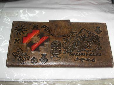 Große braune #Geldtasche mit vielen Fächern. Inca Sign aus #Peru.
