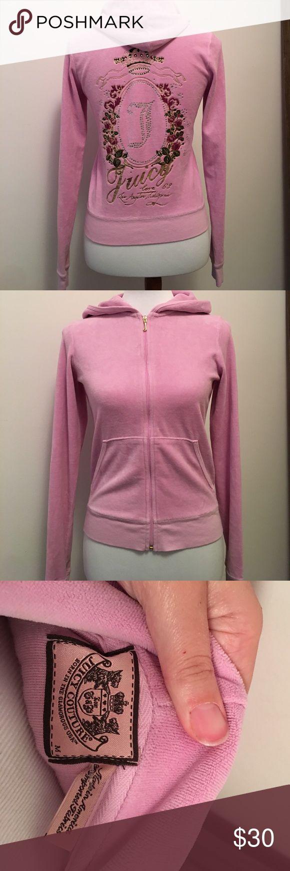JUICY COUTURE Pink zip up hooded sweat jacket Juicy couture pink zip up sweat jacket. Has good. In EUC. Size medium. Runs small. Juicy Couture Tops Sweatshirts & Hoodies