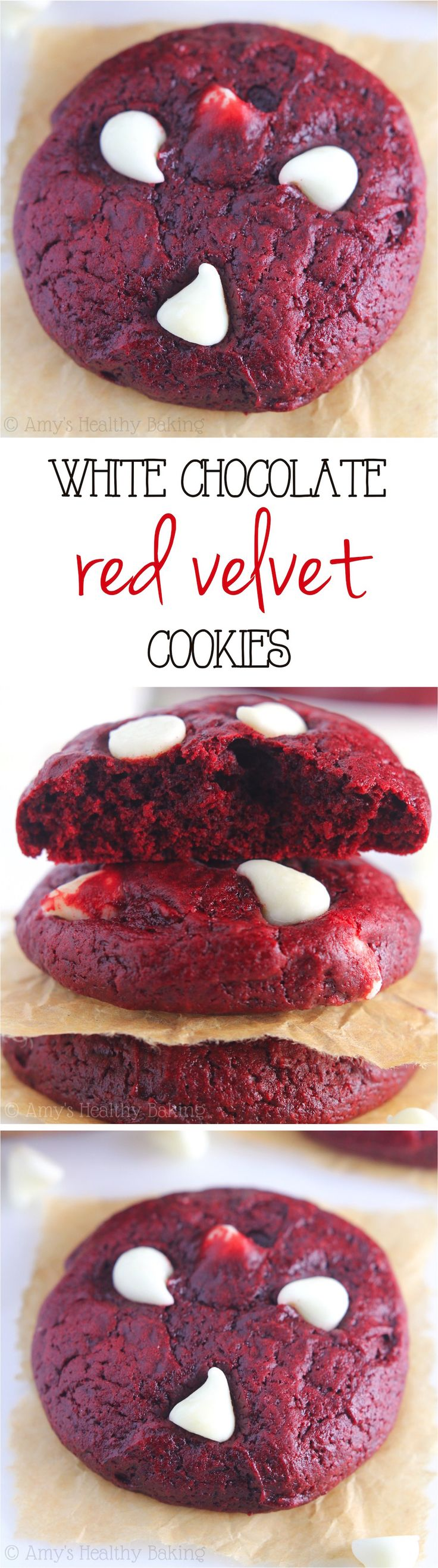 White Chocolate Red Velvet Cookies -- supremely soft, perfectly chocolaty & SO irresistible! We ate the entire batch in one night!
