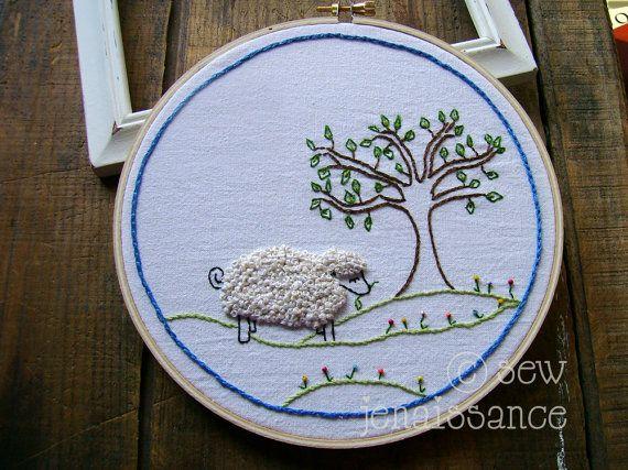Embroidery Pattern PDF Wooly Sheep and Tree by sewjenaissance, $4.00