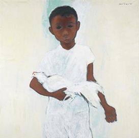 Boy with White Rooster  Artwork Details Dimensions:  100 x 100 cm Medium:  Oil on canvas Creation Date:  1980 Signed by Jeihan-Sukmantoro