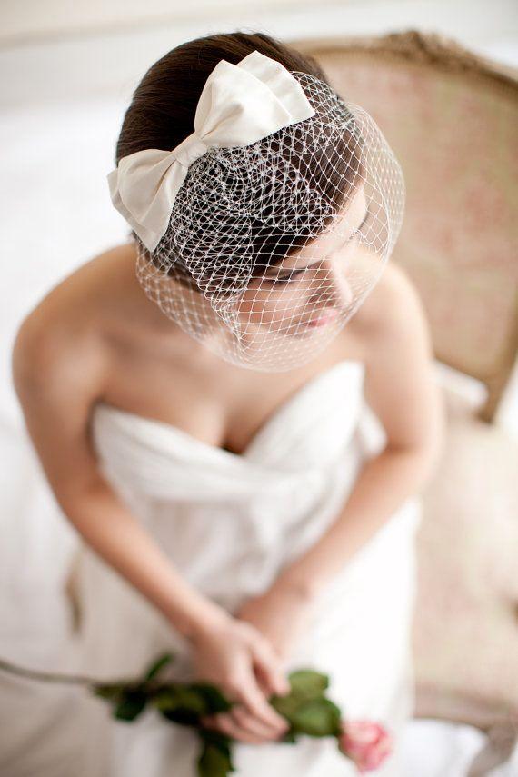Birdcage Veil with Silk Bow Blusher Veil Silk by MelindaRoseDesign