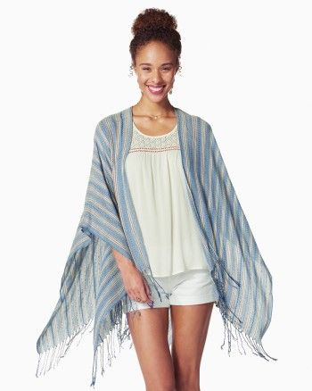 CHARMING CHARLIE - A vivid striped design with colorful stripe accents lends fun flair to this versatile ruana. Style over your favorite dress or tee for a chic look. Greay kimono for a boho beachy look. 2017 trends *affiliate