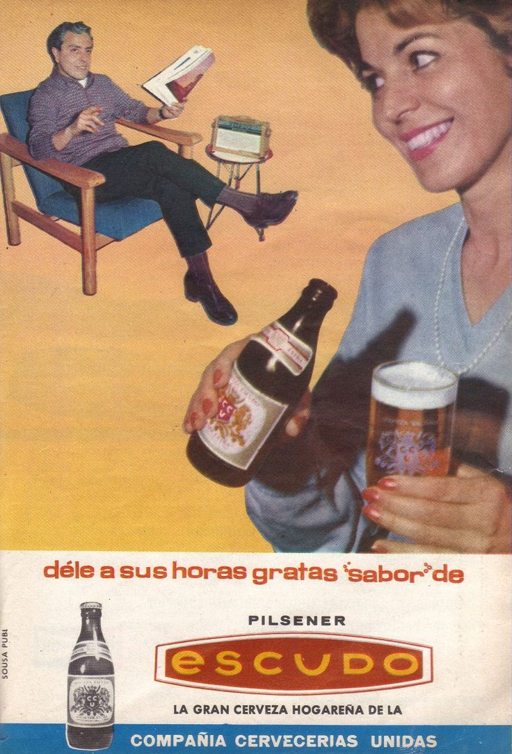 Cartel publicitario de la cerveza Pilsener Escudo, Chile año 1964