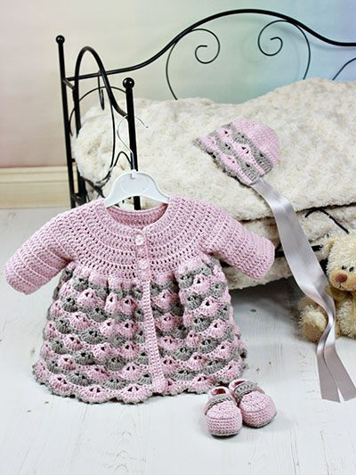 Crochet - Children & Baby Patterns - Gift Patterns - Baby Matinee Jacket, Hat, Shoes $3.99