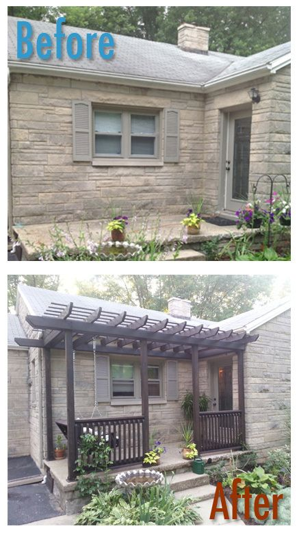 Before and After Porch - custom DIY pergola.  Check out the blog - oursecondchancehouse.com