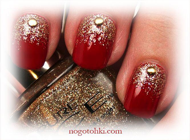 дизайн ногтей красный с золотом фото 1