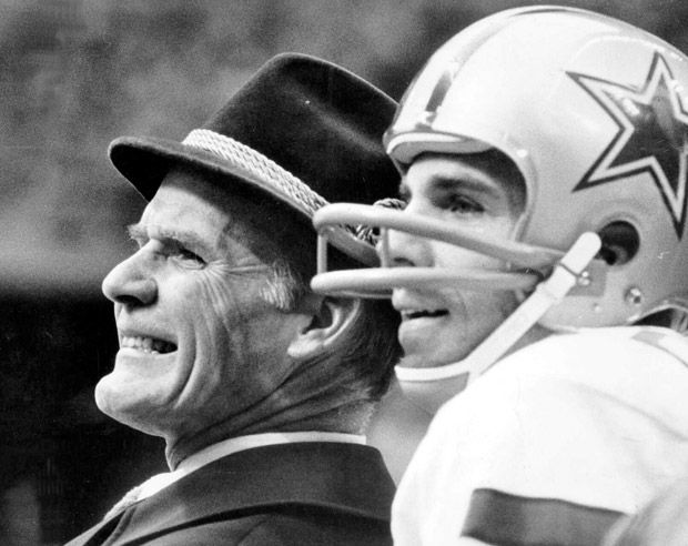 Dallas Cowboys coach Tom Landry and quarterback Roger Staubach on the sideline during a 1978 game against the Minnesota Vikings, in a photo by Barton Silverman of The New York Times. (Barton Silverman/The New York Times)