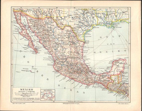 1897 Mexico Antique Map Lithograph Bookplate at KuriosartAntique