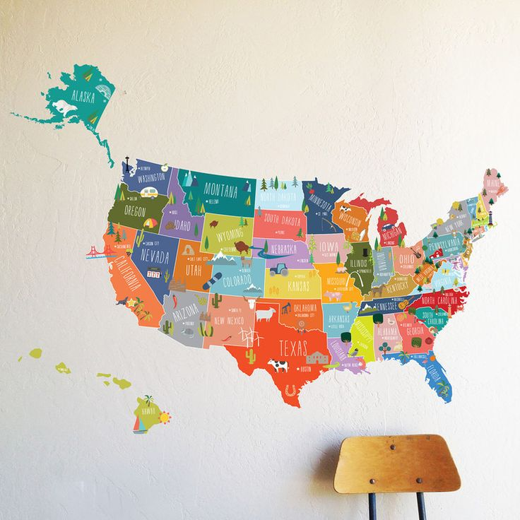 USA Interactive Map Wall Decal 295 best