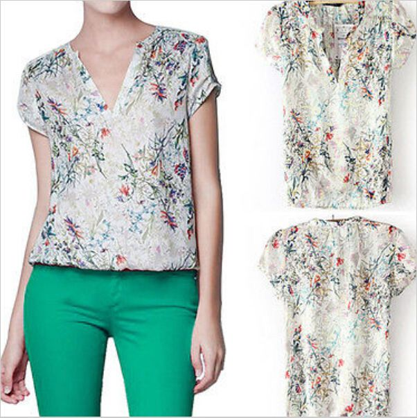 Blusas Femininas 2015 elegante Floral impresso blusa verde com Collar mulheres Chiffon Blusas senhoras Kimono Tops para as mulheres camisa(China (Mainland))