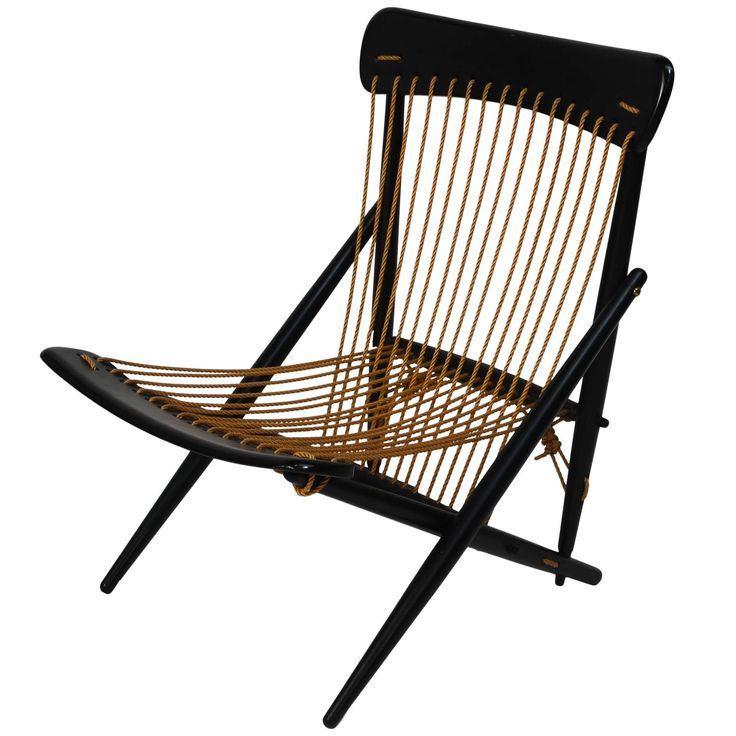 Exquisite Japanese Rope Lounge Chair by Maruni, 1955 | From a unique collection of antique and modern lounge chairs at https://www.1stdibs.com/furniture/seating/lounge-chairs/