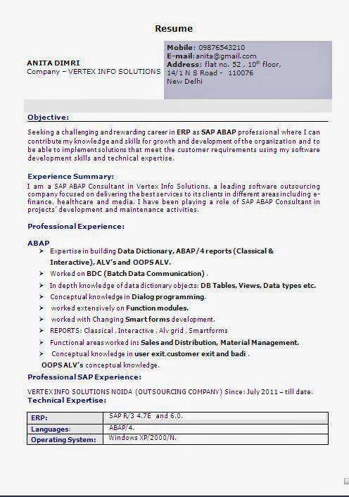 stunning sap abap resume contemporary simple resume office