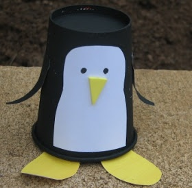 House of Baby Piranha: Paper Cup Penguin Puppet