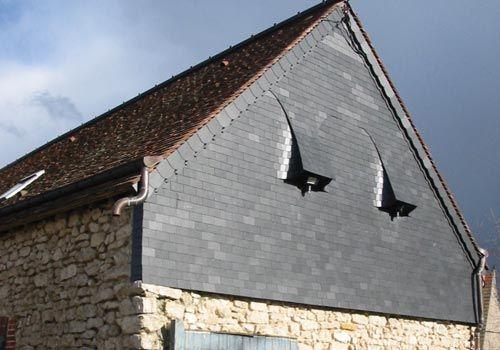 Bardage fa ade en ardoise fa ade bois fibro ciment ou m tallique pinterest - Bardage metallique facade ...