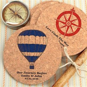 Travel Destination Personalized Round Cork Coasters