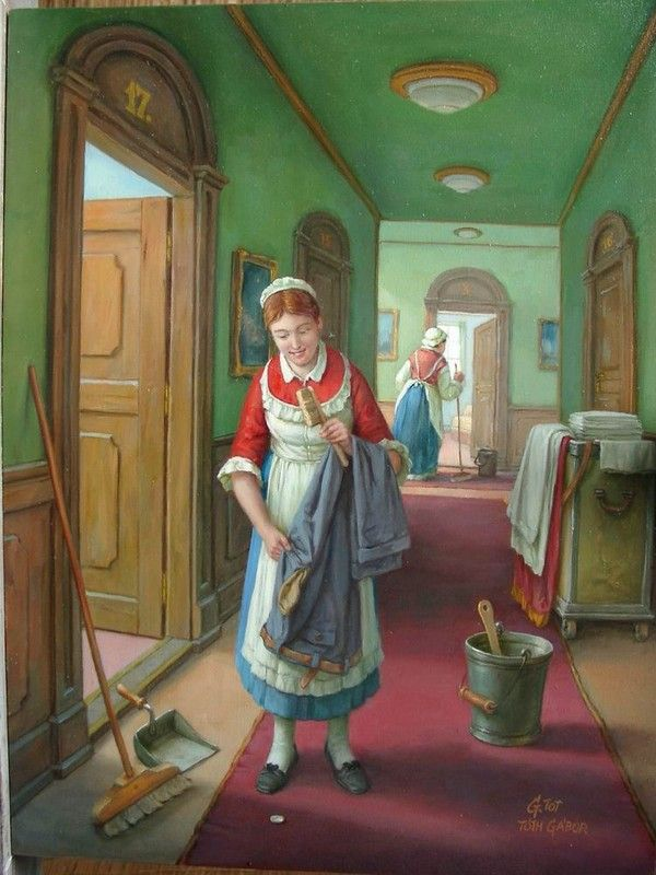 Toth Gabor~ Hungarian Painter ~ The Chambermaids