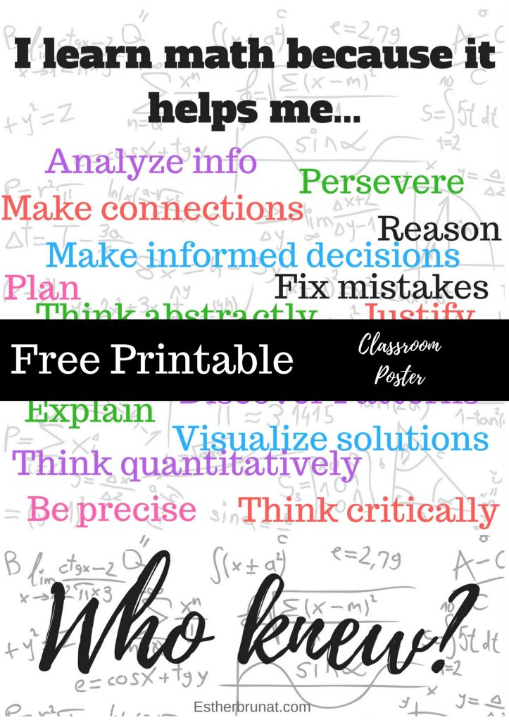 Why do we t such math? Classroom poster about why we teach math! Free printable math poster!