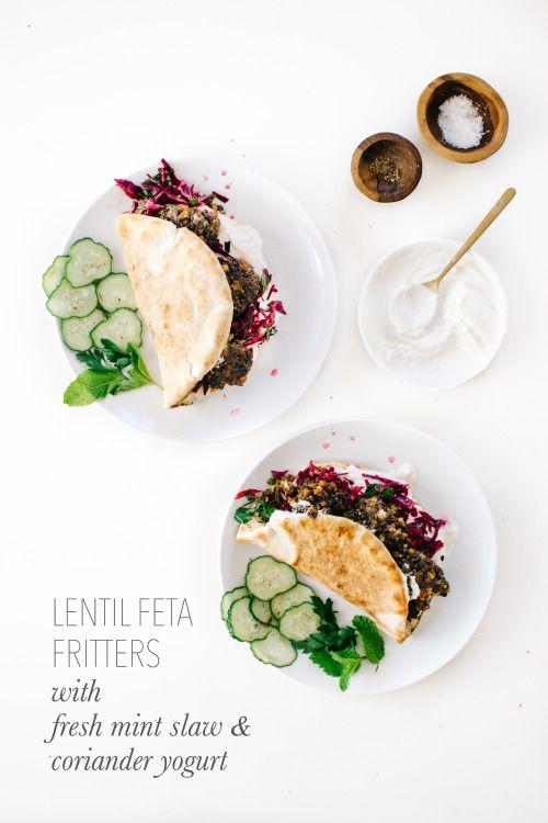 Lentil Feta Fritters with Fresh Mint Slaw & Coriander Yogurt & A Lentil Farm Visit in Saskatoon - Kale & Caramel #LoveALentil