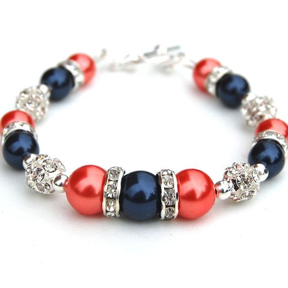 Jewelry for bridesmaids. navy and coral wedding | Navy and Coral Pearl Rhinestone Bracelet, Bridesmaids Gifts, I might have to enlist in the help of my future mother-in-law @Christina Holliday to help make something special for my bridesmaids (: