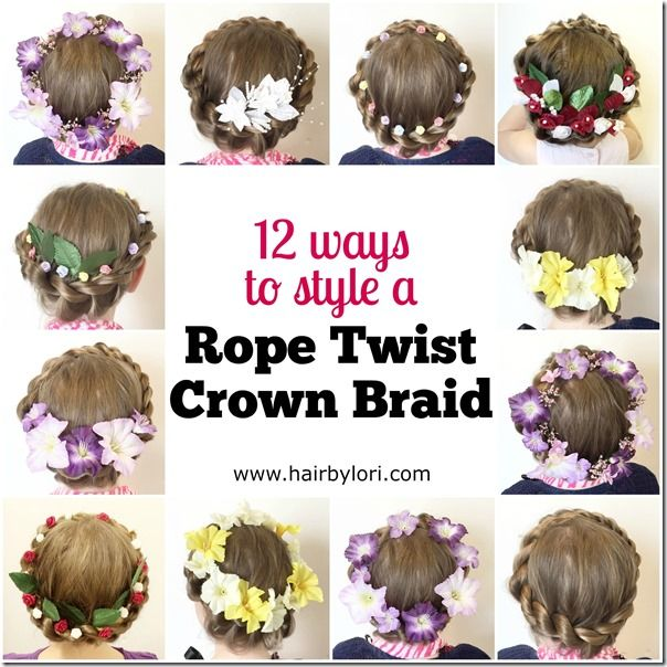 Come learn how to do a rope twist crown braid - and check out 12 different ways to wear it. Perfect for Christmas, Easter, flower girls hair and more!