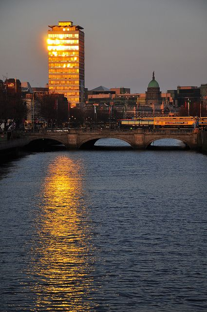 River Liffey at sunset, Dublin, Ireland