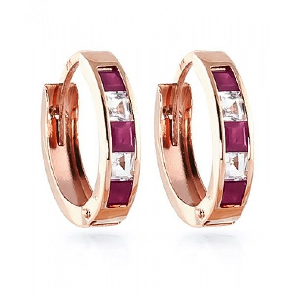 http://rubies.work/0086-ruby-rings/ Ruby and White Topaz Huggie Earrings 1.26ctw in 9ct Rose Gold