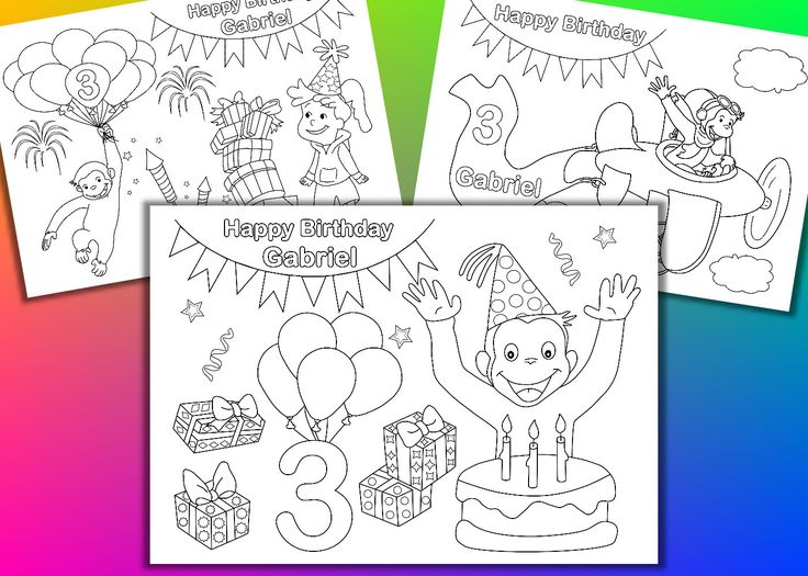 Funny monkey Birthday Party coloring pages activity PDF