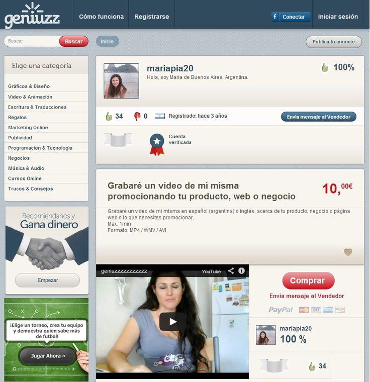 mariapia20 es una usuaria experta en crear vídeos promocionando tu producto y ha conseguido muchas valoraciones positivas http://www.geniuzz.com/mariapia20#&panel1-1