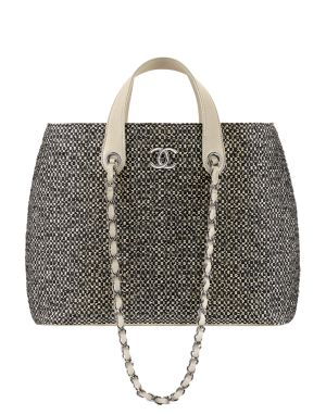 Chanel Black and White Straw Tote Bag with Chain - Cruise 2014