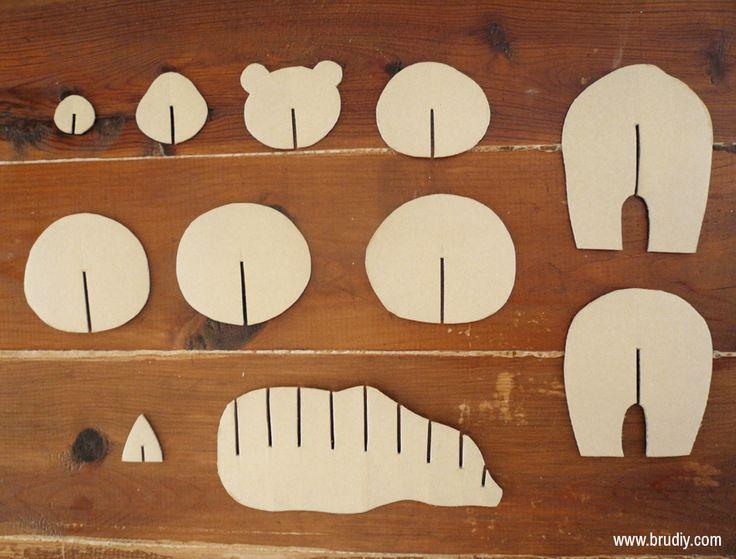 Cardboard Bear / Ós de Cartró / Oso de Cartón #handmade #bear #brownbear #cardboard #template #3D #osopardo #oso #cartón #plantilla #DIY